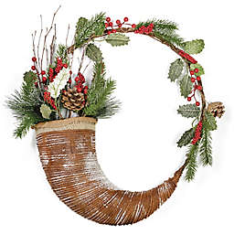 Boston International 20-Inch Evergreen Horn Wreath