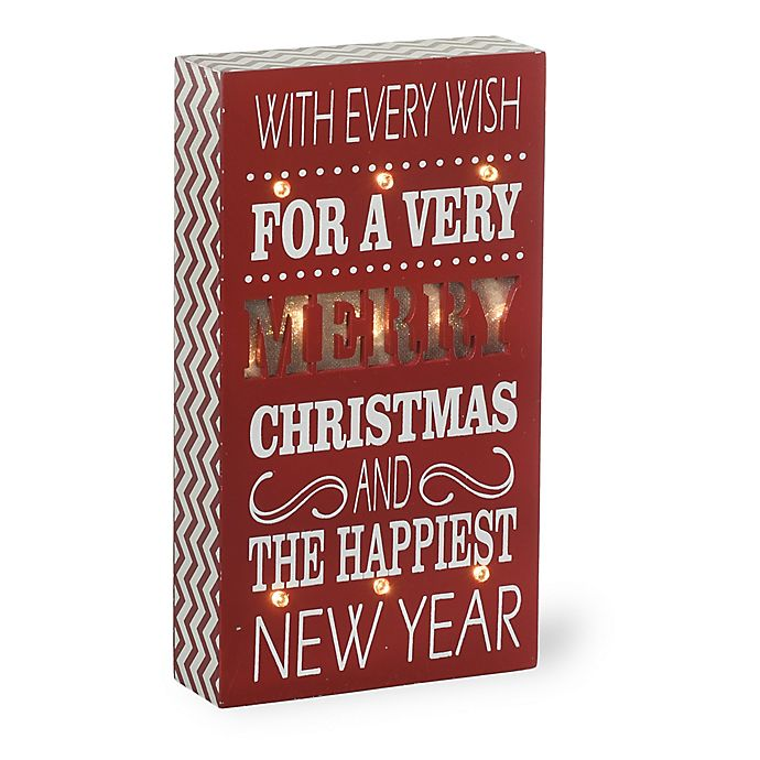 Alternate image 1 for Boston International Merry Christmas LED Boxed Sign in Red/White