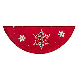 Kurt Adler 60-Inch Snowflake Embroidered Christmas Tree Skirt in Red
