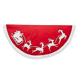 Kurt Adler 50-Inch Santa Sleigh Christmas Tree Skirt in Red