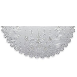 Kurt Adler 48-Inch Poinsettia and Pine Christmas Embroidered Tree Skirt in Silver