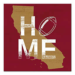 Designs Direct California Football State Pride 16-Inch Square Canvas Wall Art in Red