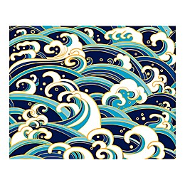 Japanese Waves 9-Foot 10-Inch x 8-Foot 1-Inch Wall Mural