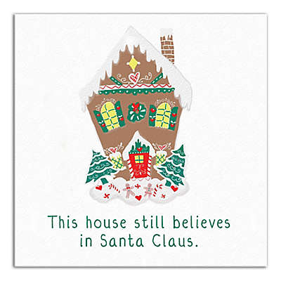 """Designs Direct """"This House Still Believes In Santa"""" 12-Inch Square Canvas Wall Art"""