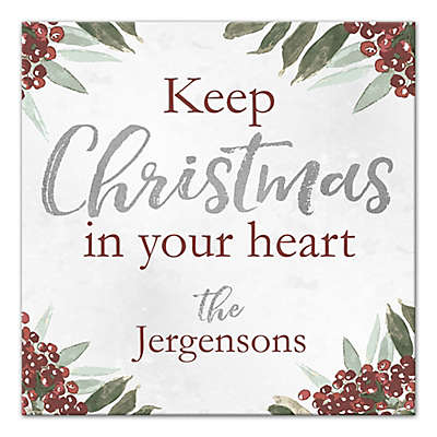 "Designs Direct ""Keep Christmas in Your Heart"" 12-Inch Square Canvas Wall Art"