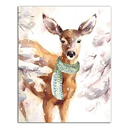 Designs Direct Winter Deer 16-Inch x 20-Inch Canvas Wall Art