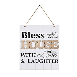 Danya B. 11.75-Inch x 19.25-Inch Bless This House with Love Wood Wall Art