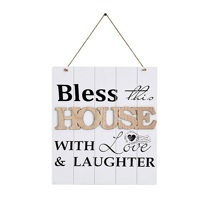 Alternate image 1 for Danya B. 11.75-Inch x 19.25-Inch Bless This House with Love Wood Wall Art