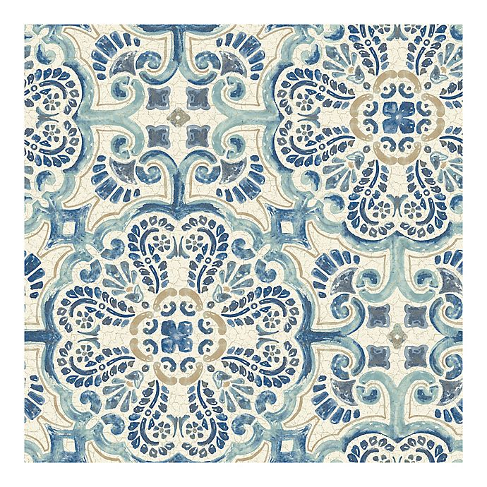 Wallpops Nuwallpaper Florentine Tile Peel Stick Wallpaper In Blue Bed Bath Beyond