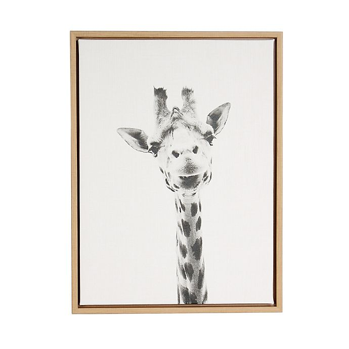 Alternate image 1 for Kate And Laurel Sylvie Giraffe 18-Inch x 24-Inch Natural Framed Canvas Wall Art
