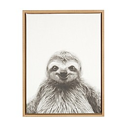 Kate and Laurel Sylvie Sloth 18-Inch x 24-Inch Natural Framed Canvas Wall Art