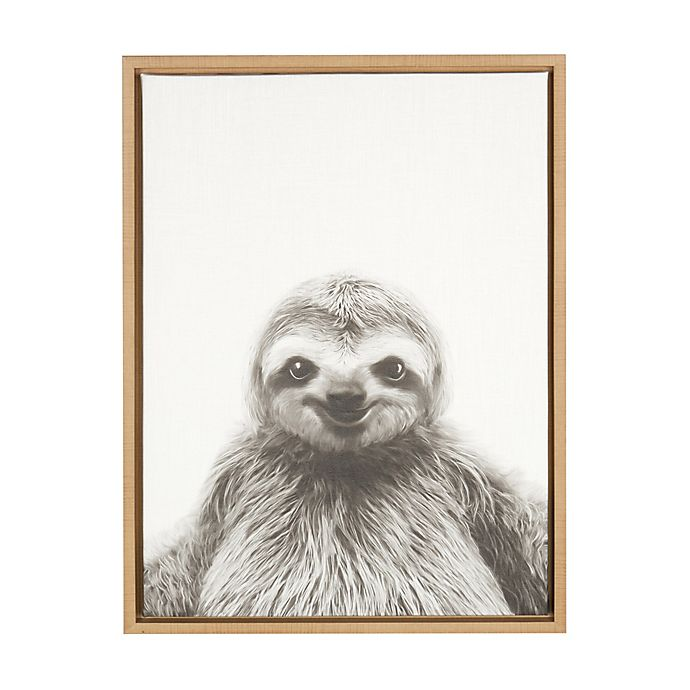 Alternate image 1 for Kate and Laurel Sylvie Sloth 18-Inch x 24-Inch Natural Framed Canvas Wall Art
