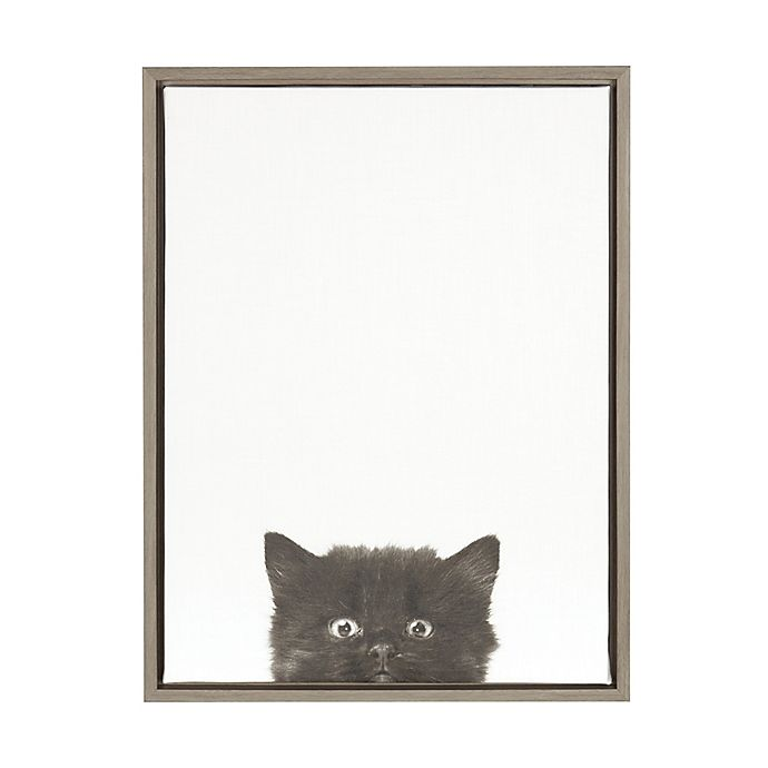 Alternate image 1 for Kate And Laurel Sylvie Kitten 18-Inch x 24-Inch Grey Framed Canvas Wall Art