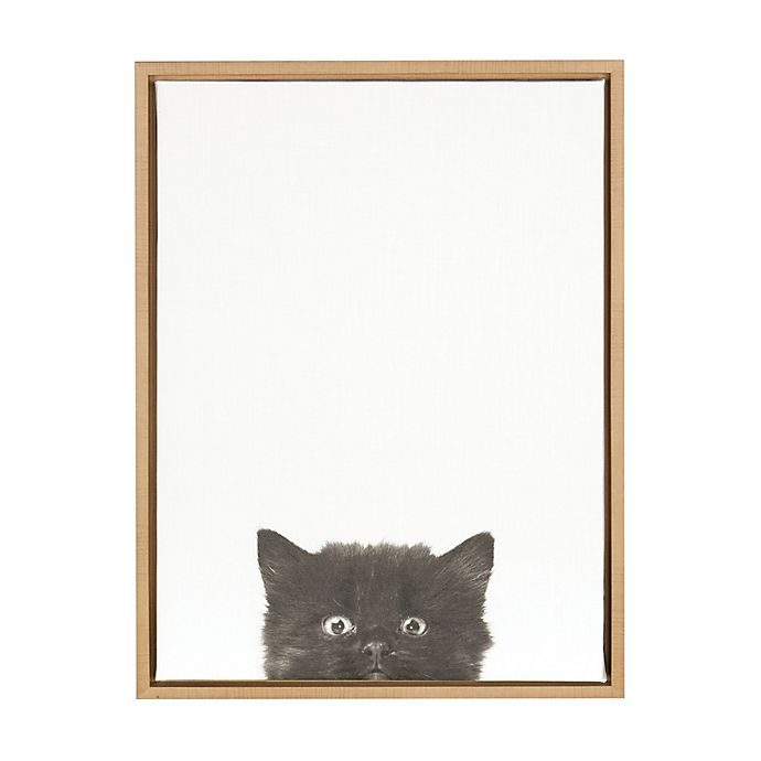 Alternate image 1 for Kate And Laurel Sylvie Kitten 18-Inch x 24-Inch Natural Framed Canvas Wall Art