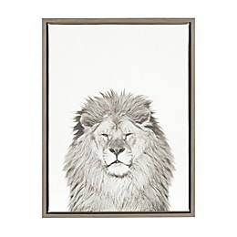 Kate and Laurel Sylvie Lion 18-Inch x 24-Inch Grey Framed Canvas Wall Art