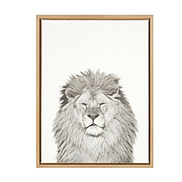 Kate and Laurel Sylvie Lion 18-Inch x 24-Inch Natural Framed Canvas Wall Art