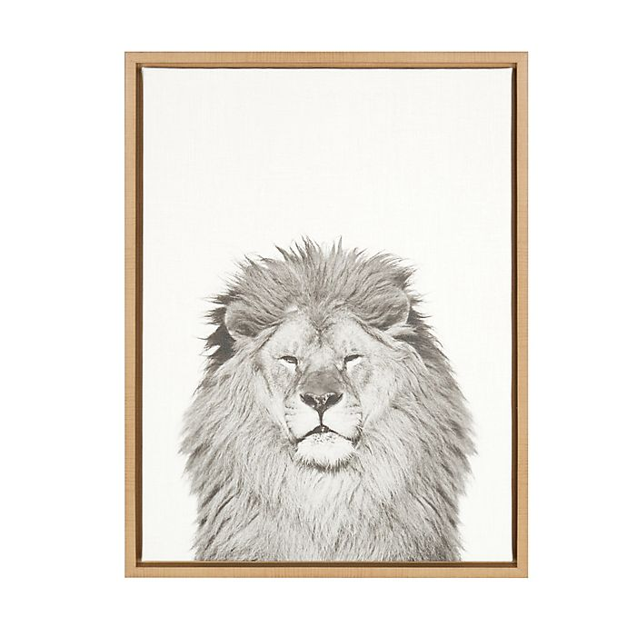 Alternate image 1 for Kate and Laurel Sylvie Lion 18-Inch x 24-Inch Natural Framed Canvas Wall Art