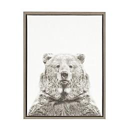 Kate And Laurel Sylvie Bear 18-Inch x 24-Inch Grey Framed Canvas Wall Art