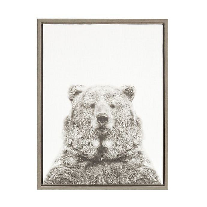 Alternate image 1 for Kate And Laurel Sylvie Bear 18-Inch x 24-Inch Grey Framed Canvas Wall Art