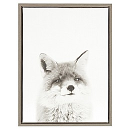 Kate and Laurel Fox Canvas in Black and White with Grey Frame