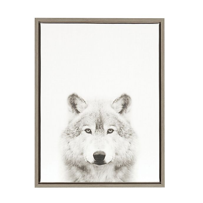 Alternate image 1 for Kate and Laurel Sylvie Wolf 18-Inch x 24-Inch Grey Framed Canvas Wall Art