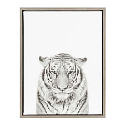 Kate and Laurel Tiger Canvas in Black and White with Grey Frame