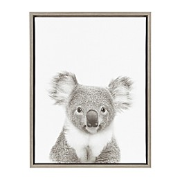 Kate And Laurel Sylvie Koala 18-Inch x 24-Inch Grey Framed Canvas Wall Art