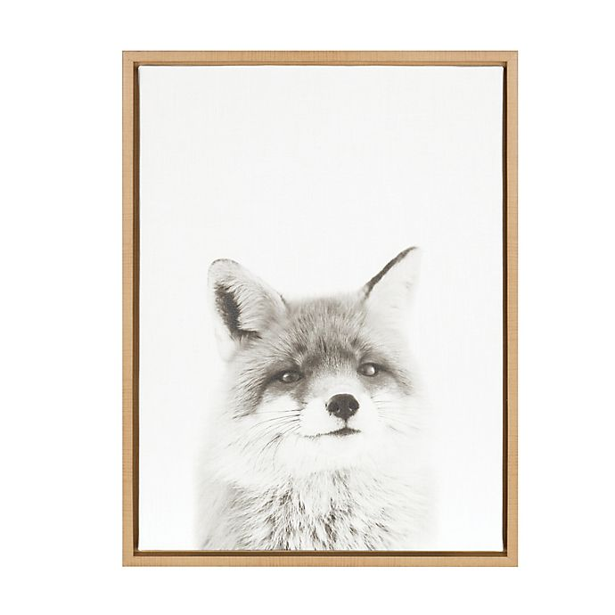 Alternate image 1 for Kate And Laurel Sylvie Fox 18-Inch x 24-Inch Natural Framed Canvas Wall Art