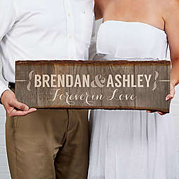 Rustic Couple 23-Inch x 10-Inch Basswood Plank Sign