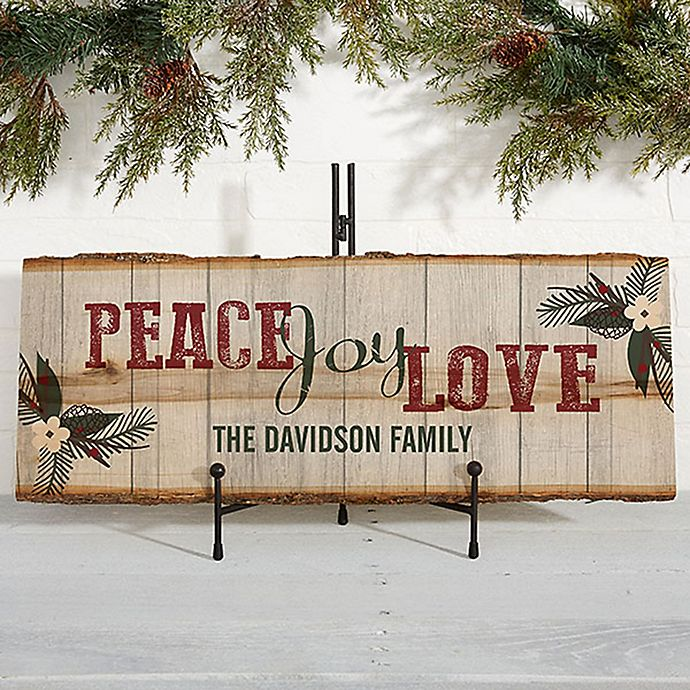 Alternate image 1 for Peace, Joy, Love Basswood Plank Sign