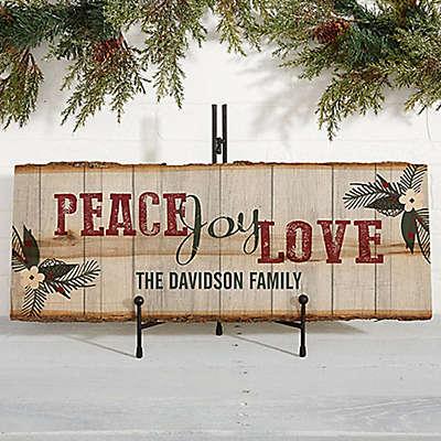 Peace, Joy, Love Basswood Plank Sign