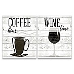 Coffee Hour and Wine Time  2-Pack Canvas Wall Art