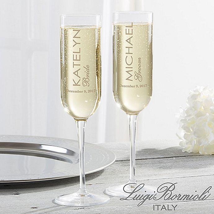 Alternate image 1 for Luigi Bormioli Sublime SON.hyx® Wedding Personalized Modern Champagne Flutes (Set of 2)