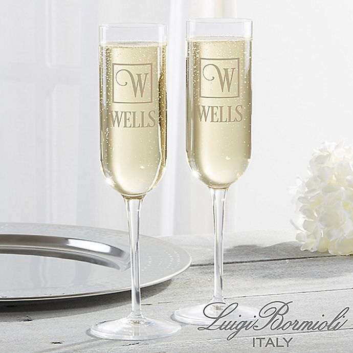 Alternate image 1 for Luigi Bormioli Sublime SON.hyx® Square Monogram Personalized Modern Champagne Flute Set