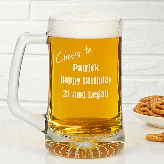 Alternate image 1 for Happy Birthday 25 oz. Engraved Beer Mug