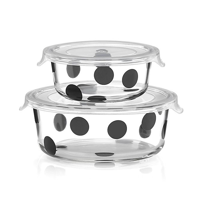 Alternate image 1 for kate spade new york All in Good Taste™ Deco Dot 2-Piece Round Food Storage Set