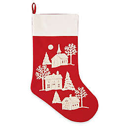 C&F Home Peaceful Village 20-Inch Embroidered Christmas Stocking in Red