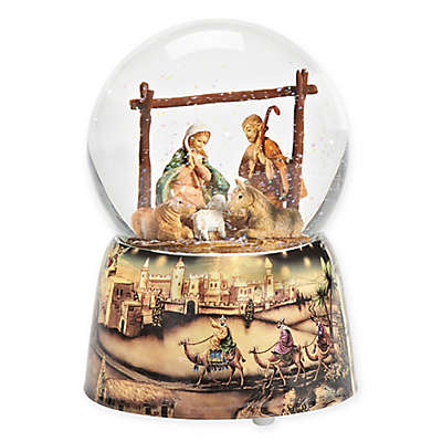 Fontanini 6-Inch Wind-Up Musical Holy Family with Animals Glitterdome Figurine