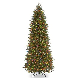 National Tree Company Pre-Lit Fraser Fir Pencil Slim Christmas Tree with Multicolor Lights