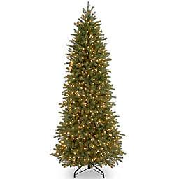 National Tree Company 12-Foot Pre-Lit Jersey Fraser Fir Pencil Slim Christmas Tree w/ Clear Lights