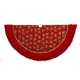 Kurt Adler 52-Inch Poinsettia Ruffle Christmas Tree Skirt in Red