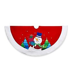 Kurt Adler 48-Inch Snowman Velvet Christmas Tree Skirt in Red