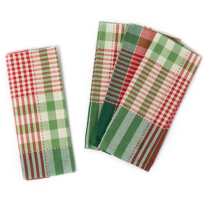 Alternate image 1 for Holiday Check Napkins (Set of 4)