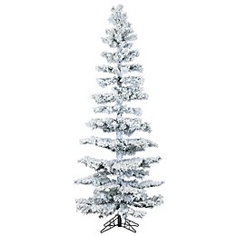 Fraser Hill Farm Hillside Slim Flocked Pine Artificial Christmas Tree with Clear Lights
