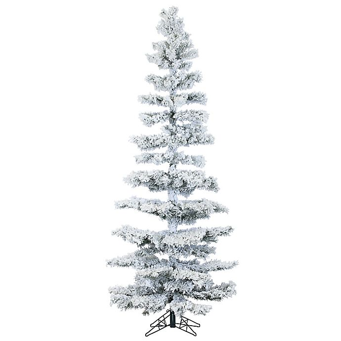 Alternate image 1 for Fraser Hill Farm 7.5-Foot Hillside Slim Flocked Artificial Christmas Tree with Multi-Color Lights