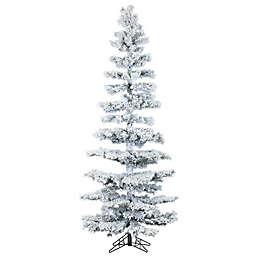 Fraser Hill Farm 7.5-Foot Hillside Slim Flocked Artificial Christmas Tree with Multi-Color Lights