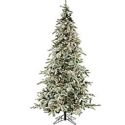 Fraser Hill Farm 9-Foot Pre-Lit Clear LED Flocked Mountain Pine Artificial Christmas Tree