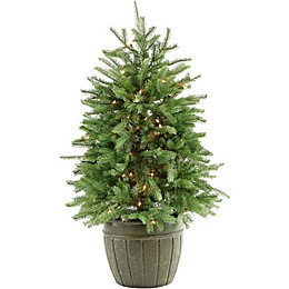 Fraser Hill Farm 4-Foot Pre-Lit Potted Artificial Christmas Tree with Clear Lights