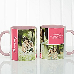Family Love 11 oz. Photo Collage Coffee Mug in Pink