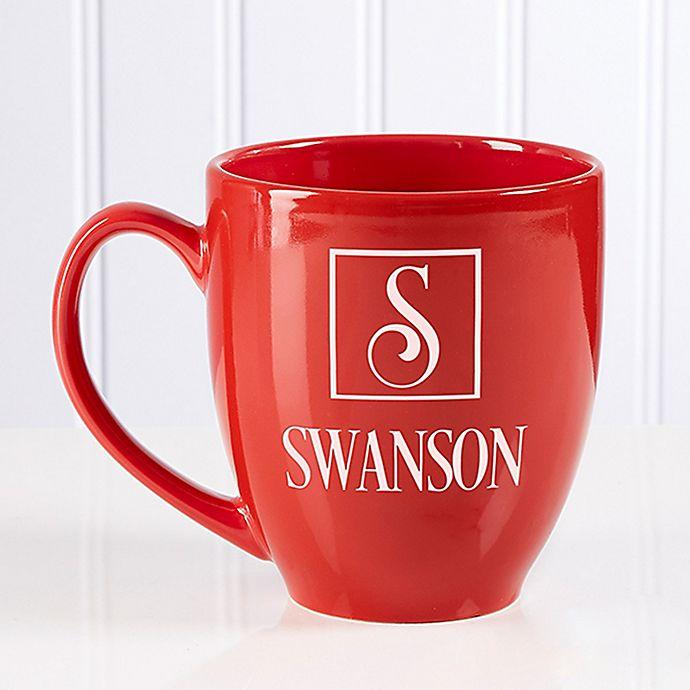 Alternate image 1 for Square Monogram 14.5 oz. Red Bistro Mug